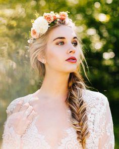 Stunning bride with fishtail braid and flower crown - Our Favorite Instagram Posts 5.27.16 | WeddingDay Magazine