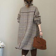Fashion Quilted Gray Plaid Woolen Long Coat For Women - Women's fashion - Womens Fashion Casual Summer, Fall Fashion Outfits, Fashion Coat, Women's Fashion, Stylish Clothes For Women, Coats For Women, Coatdress, Modele Hijab, Iranian Women Fashion