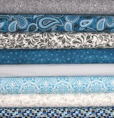 Teal and Gray Fat Quarter Bundle, Cotton Quilt Fabric, Aqua, Turquoise, Grey by fabric406 on Etsy