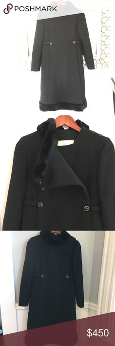 Vintage 1950 Rare Mint Fur Collar Trim Wool Coat S Exquisite coat by Worth of Boston in the Back Bay/ Adolph Zelinka . incredibly warm virgin Wool! Fur collar and bottom trim. Elegant high neckline. Gold toned buttons Waist braided button closure. Can b worn part open.Silk lining. Fabric Snap closures at top as well as hooks. Incredible condition. Tiny tarnish spot on button is only issue to note. Incredible condition, rare find, so fashionable and Chic! Would fit an XS-S. Arnpit 2…