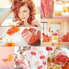 Tangerine, cotton candy, and lemon colors. What a nice soft look.