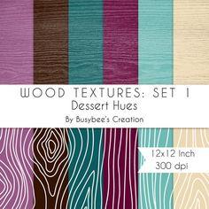 Digital Paper Pack: Wood Textures Set 1- Dessert Hues- INSTANT DOWNLOAD - Print Quality 300 dpi 12x12 Inch $2.49