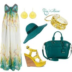 """""""Green and Yellow Maxi"""" by zionsmama on Polyvore"""