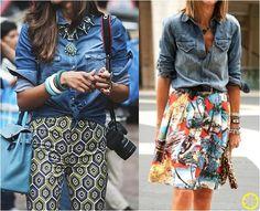 Look do Dia = Camisa Jeans + Estampas