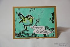 A handcrafted Happy Birthday card featuring a mono-print background and a watercolor bird. This colorful card is on kraft and comes with a matching kraft envelope.  This colorful birthday card would be perfect for kids or adults. All of my cards are back-stamped with a Paper Geometry Co. stamp.   >> Quantity: One (1)  >> Style: Happy Birthday, Blank Inside  >> Size: 5.5 x 4.00  >> Materials: cardstock, paper, ink  >> Packaging: plastic sleeve fixed on a cardboard...