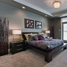 Gray Bedroom With Purple Accents purple and grey bedroom | modern architecture design & best home