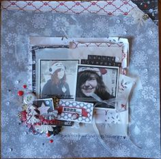 Asokascrapper - Scrapbooking page - Kit Tis the season by Echo Park - Art du Scrapbooking - Gesso Background