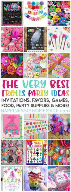 Planning a Trolls Birthday Party? We've got you covered with the best Trolls Party Ideas - party supplies, favors, invitations, decorations, games, & more! #diypartydecorationsideas