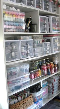 Organize your craft space like this with tutorial!  AND 45 of the BEST Home Organizational & Household Tips, Tricks & Tutorials with their links!! Party and event prep, too! from MrsPollyRogers.com