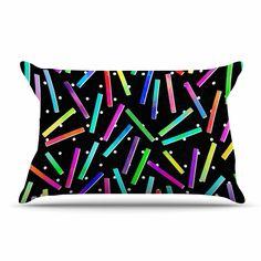 "Noonday Design ""Confetti Party"" Black Multicolor Pillow Case"