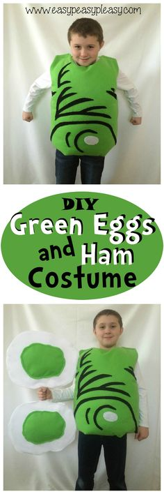 DIY Green Eggs and Ham Costume is perfect for Dr. Seuss week at school or as a Halloween Costume! Book Projects, School Projects, Dr Seuss Week, Dr Suess, Dr Seuss Diy Costumes, Halloween Crafts, Halloween Costumes, Family Halloween, Storybook Character Costumes