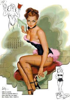 """September 1954 - Bill Randall - """"SALLY is a puzzle. there's no question about it - some think she is an angel, but frankly, folks, I doubt it! Pin Up Tattoos, Calendar Girls, Rose Tyler, Pin Up Art, Pin Up Style, Pin Up Girls, Burlesque, Sally, Cover Art"""