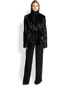 Donna Karan - Belted Goat-Fur Coat