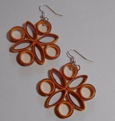 Brown Gold Fall handmade paper earrings Wearable Paper art #Handmade