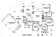 First Floor Plan of Cottage   Craftsman   European   Tuscan   House Plan 65872