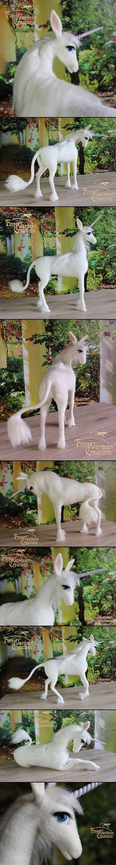 This unicorn was a customer order ~ sold! I felted this unicorn of wool with the needle. The mane and the tail are made of white mohai. The Last Unicorn - needle felted - (sold) Needle Felted Animals, Felt Animals, Needle Felting, Unicorn Mom, The Last Unicorn, Cute Crafts, Felt Crafts, Plush Horse, Unicorn Tattoos