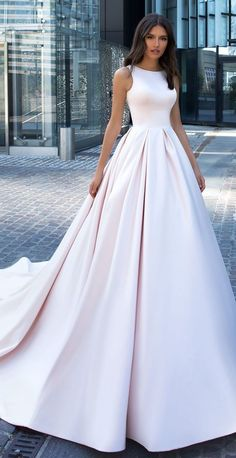 Crystal Designs Wedding Dresses 2019 - Paris Collection Sleeveless Simple modest ball gown blush wedding dress Mikado pink ballgown bridal gown with beau neckline and long train for a princess fairytale wedding Wedding Dress Tight, Princess Wedding Dresses, Modest Wedding Dresses, Designer Wedding Dresses, Bridal Dresses, Prom Dresses, Wedding Skirt, Wedding Dress Pink, Wedding Dress Long Train