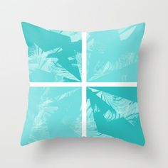 Abstract Pillow Cover Teal White Geometric by HLBhomedesigns, $35.00