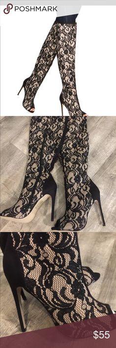 Madison open toe knee high stiletto boots Worn once inside. Boots never worn outside. Beautiful detail. Boots zip up on the side 1 Madison Shoes Heeled Boots