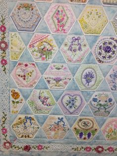 Bottom left of finished Hexie quilt by Kay Lea.