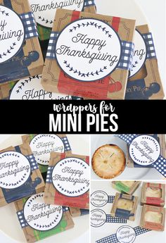 Thanksgiving Mini Pies with Tags for a sweet Thanksgiving treat. Share with family, friends and neighbors or add to festive Thanksgiving Place Settings! Thanksgiving Post, Thanksgiving Projects, Thanksgiving Traditions, Thanksgiving Treats, Teacher Christmas Gifts, Valentine Gifts, Teacher Appreciation Gifts, Teacher Gifts, Homemade Gifts