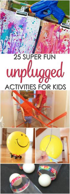 Here are 25 Super Fun Unplugged Activities for Kids that are perfect boredom busters for snow days, rainy days and tech-free time. Rainy Day Activities For Kids, Rainy Day Fun, Rainy Day Crafts, Fun Games For Kids, Summer Games, Summer Fun, Summer Ideas, Diy Kid Crafts For Boys, Winter Crafts For Kids