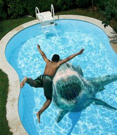 shark in pool! I need a pool! Shark Pool, Shark Bait, Swimming Pool Tiles, Unique Tile, Dream Pools, Great White Shark, Shark Week, Cool Pools, Steve Jobs