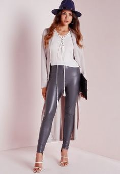 Faux Leather Ankle Zip Trousers Grey