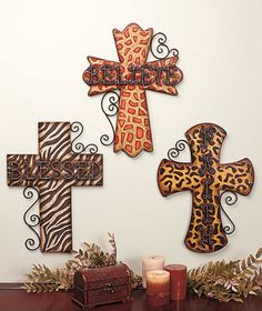 Blessed believe faith animal print metal cross wall decor art Animal Print Rooms, Animal Print Decor, Animal Prints, Safari Home Decor, Safari Decorations, Safari Theme, Wooden Crosses, Wall Crosses, Mosaic Crosses