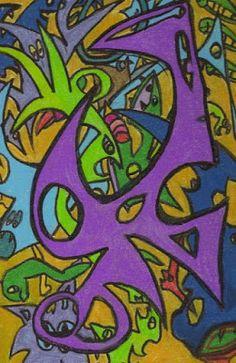 Automatic Drawing, Canvas Board, Psychedelic Art, Prismacolor, Trippy, Ufo, Colored Pencils, Surrealism, Original Artwork