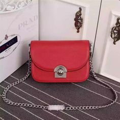 2016 New Prada Arcade Shoulder Bag in Red Calf Leather