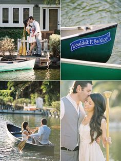 engagement photos in a row boat