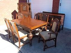 jacobean antique wood dining room set - chairs, table, buffet
