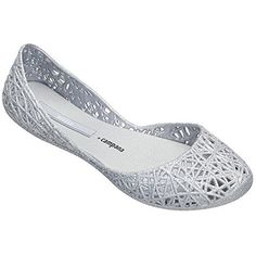 Melissa Womens Campana Zig Zag Flats Silver 7 BM US *** Click on the image for additional details.(This is an Amazon affiliate link and I receive a commission for the sales)