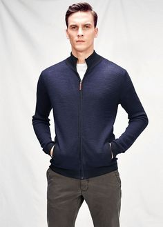 Contrast wool-blend cardigan
