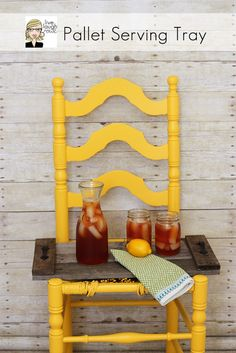 Pallet Serving Tray from live, laugh, rowe; I might make this!  You could clean it and stain with Thompson's Water Seal Easy Stain or Wood Stain!