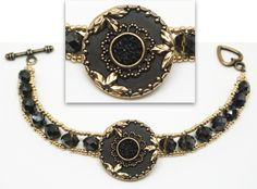 Three-Leaf Antiqued Gold & Black Button Bracelet – This elegant piece makes a bold statement! We've mounted this stunning #button on a bracelet of black @swarovski crystals, gold beaded edging, and a toggle closure. #ButtonDesignCo #jewelry #bracelet #blackandgold