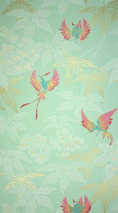Osborne Little Tapete GROVE GARDEN 2 tara wallpaper album 5 Vögel rot blau auf türkis gold