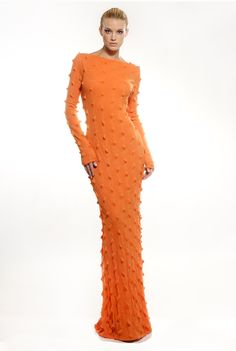 Orange stretch wool blend jersey maxi dress with embroidered spikes. Tsyndyma. http://www.etsy.com/shop/tsyndyma?ref=si_shop