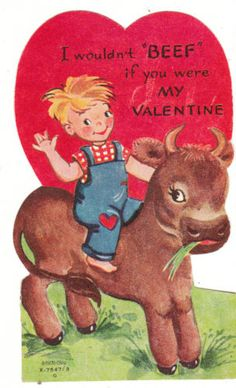 Vintage Valentine Card Farmer Boy and Bull Die-Cut for Children A-Meri-Card