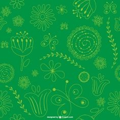 Green floral background pattern