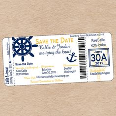 Nautical Boarding Pass Save the Date or by DecorableDesigns, $20.00