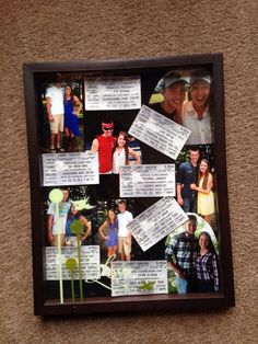 Made a collage of photos in a shadow box from our country megaticket for the boyfriend for Christmas (: