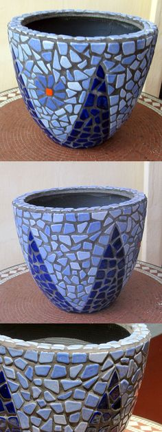 DIY Mosaic Blue Flower Pot - Mosaik Blumentopf - Mosaique Pot de Fleur - Broken…