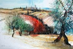 Watercolor Landscape, Landscape Art, Watercolor Paintings, Watercolors, Urban Sketching, Watercolor Techniques, Still Life, Fields, Art Gallery