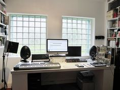 Check out this massive list of home studio setup ideas. Filter down by room colors, number of monitors, and more to find your perfect studio. Home Recording Studio Setup, Home Studio Setup, Music Studio Room, Studio Desk, Studio Spaces, Home Music, Room Setup, Bars For Home, Room Colors