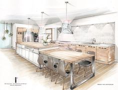 Home architecture layout New Ideas Interior Design Renderings, Drawing Interior, Interior Rendering, Interior Sketch, Home Interior, Kitchen Interior, Interior Architecture, Architecture Layout, Design Your Kitchen