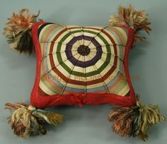 Textiles - Antique Silk Wrapped String Pin Cushion or Pillow - Peggy McClard Antiques - Americana & Folk Art