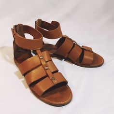 Madewell leather tan gladiator ankle wrap sandals Barely worn in pristine condition Madewell Shoes Sandals