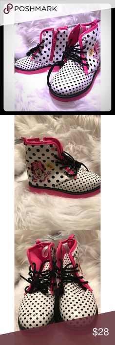 OMG Look At These! Minnie Mouse Polka Dot Hightops You're little girl in your life will be the cutest kid on the block with these Minnie Mouse polka dot , with hot pink trim high tops . Cute Minnie Mouse scene on the side of the boot . Nice thick rubber boot for long lasting wear! Girls size US 9 The Disney Store  Shoes Sneakers
